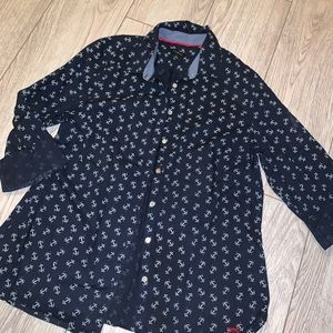 Talbots Anchor print button down shirt